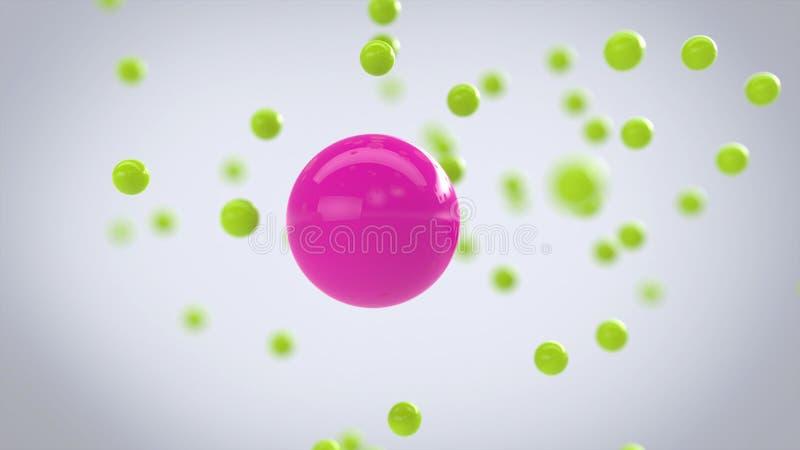 Partículas esféricas do rosa e do verde ilustração stock
