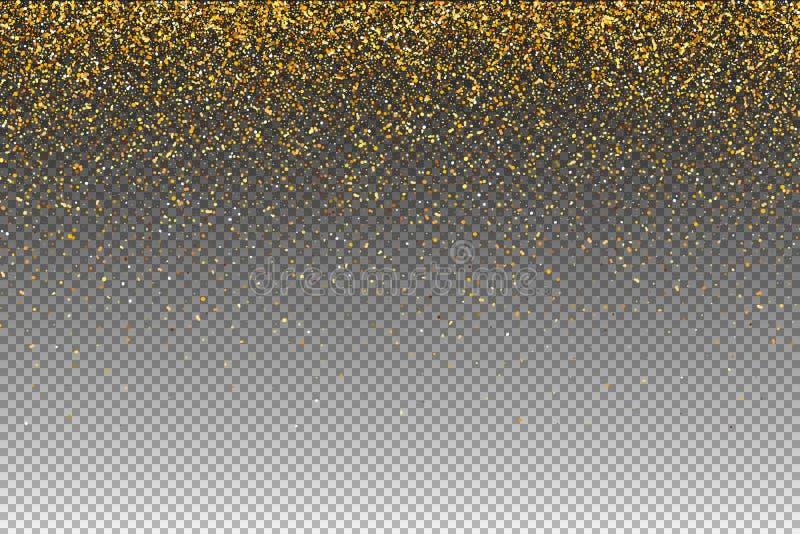 Partículas que caen aisladas en fondo transparente Las luces brillan el efecto para su diseño Partículas que caen para la tarjeta stock de ilustración