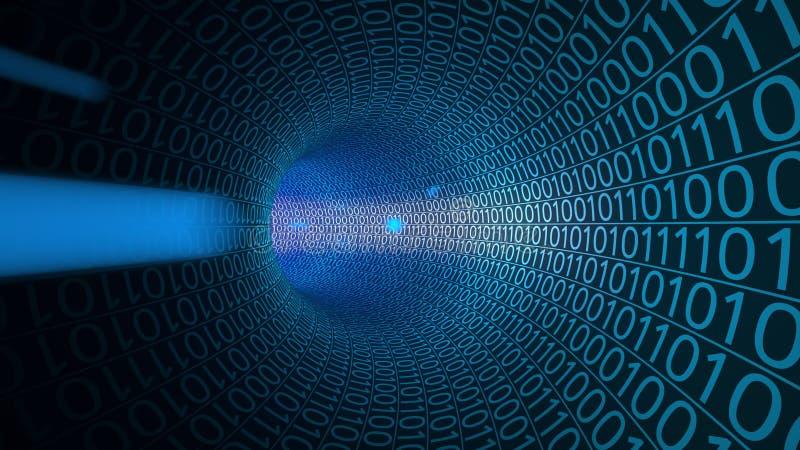 Partículas que movem-se através do túnel azul abstrato feito com zero e uns Computadores, transferência de dados, tecnologias dig fotografia de stock