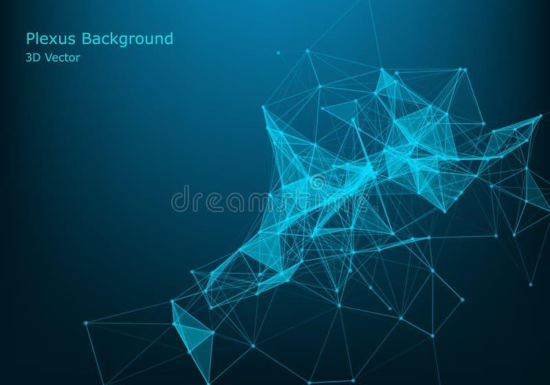 Partículas y líneas abstractas del vector Efecto del plexo Ilustración futurista Estructura cibernética poligonal Concepto de la  libre illustration