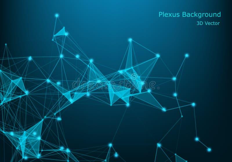 Partículas y líneas iluminadas vector abstracto Efecto del plexo con colores del espectro Ilustración futurista del vector poligo libre illustration