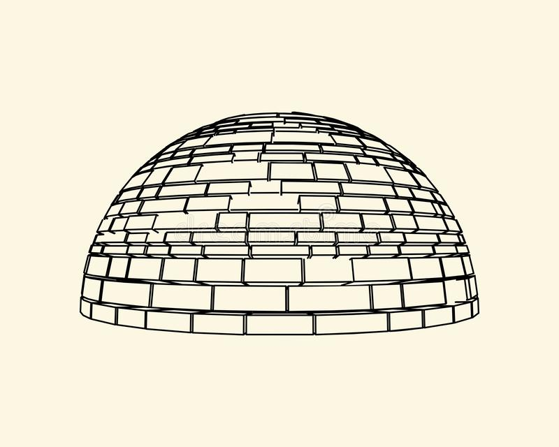Part of the castle wall. Part of the abstract house. Ancient bricks dome vector illustration