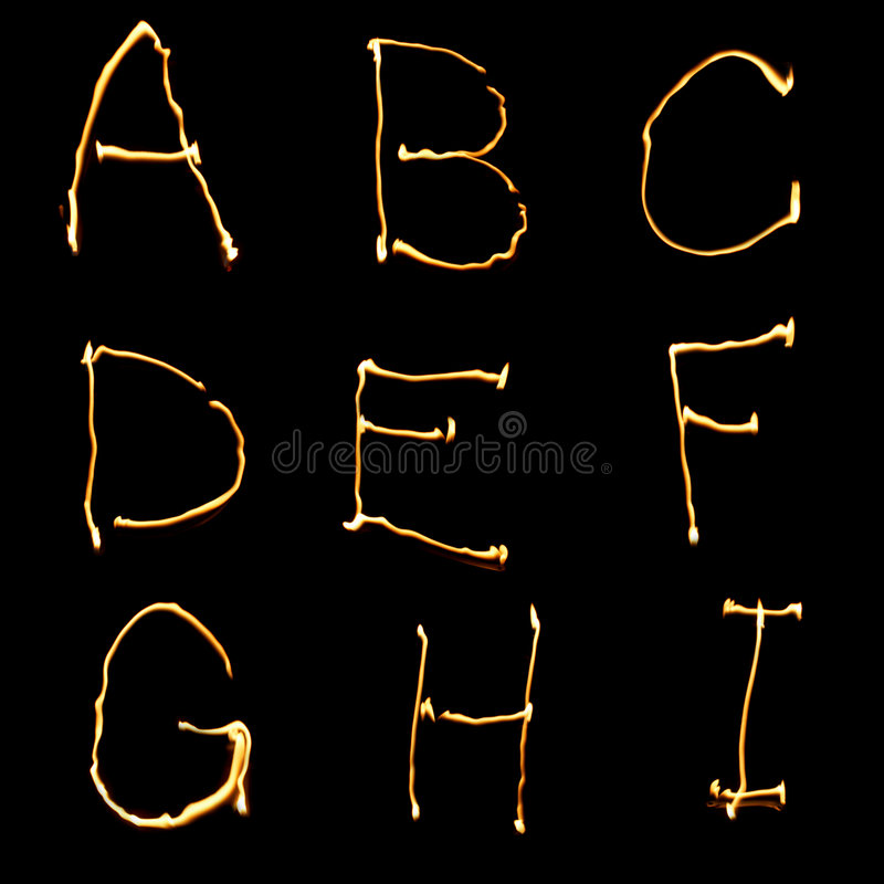 Part of alphabet (1 of 3). Alphabet, first part of 3 royalty free stock photo