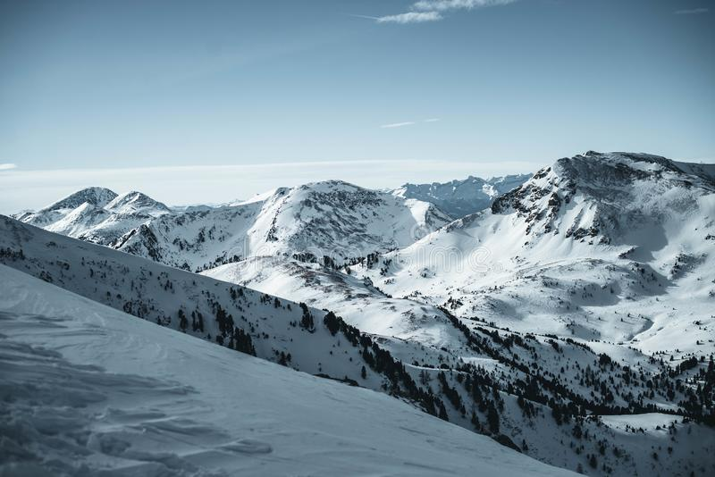 Part of the Alps in Austria, Nocky mountains photographed from a slope in February. stock image