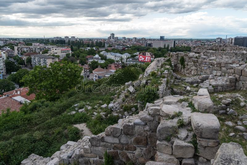 Part of ancient fortress wall on top of the Nebet tepe Hill in Plovdiv city,.Bulgaria. Panoramic view stock photo
