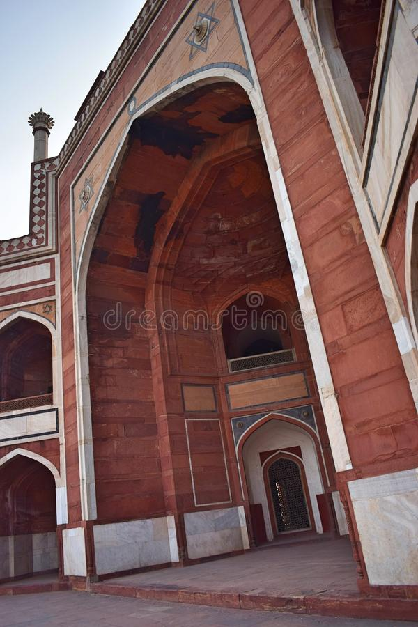 Part of the ancient Humayun`s tomb in Delhi stock images