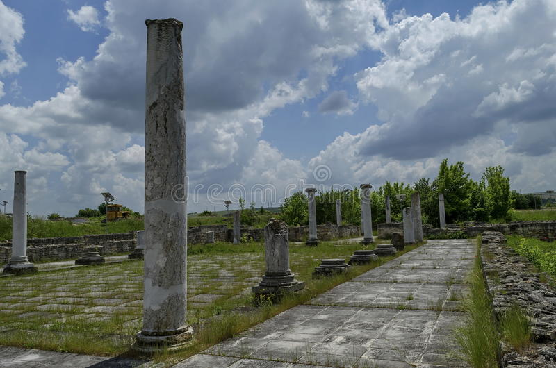 Part of Ancient Roman town peristyle complex Abritus royalty free stock images