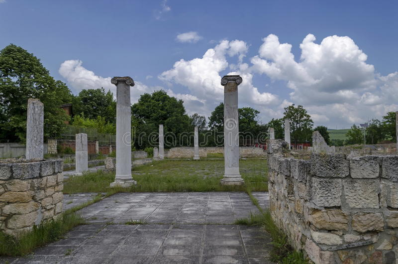 Part of Ancient Roman town peristyle complex Abritus royalty free stock image