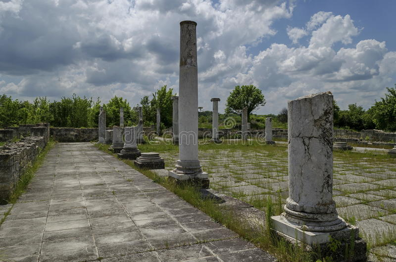 Part of Ancient Roman town peristyle complex Abritus stock images