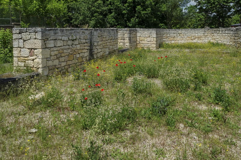 Part of Ancient Roman town peristyle complex Abritus stock photography