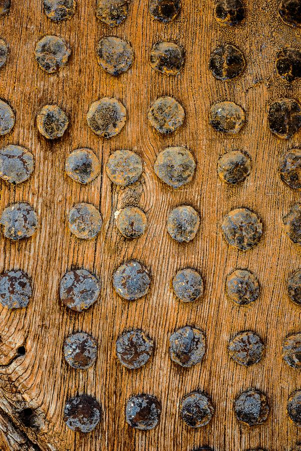 Part Of Ancient Wood Gate studded by nails with round cap. Vertical wooden texture In Macedonia royalty free stock photography