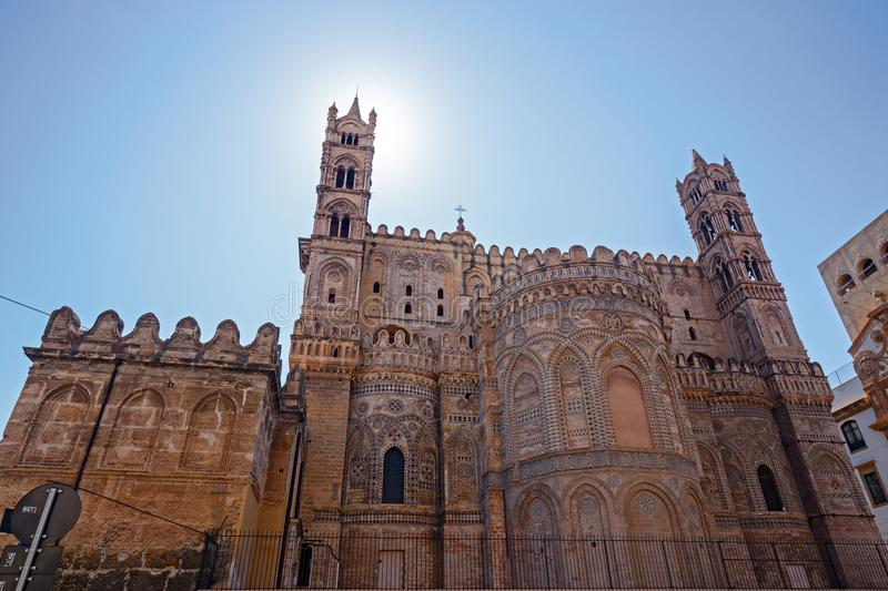 Part apse of the Arab Norman Cathedral of Palermo in Sicily, Italy. stock photos