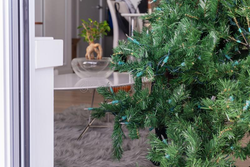 Part of an artificial Christmas tree stock image