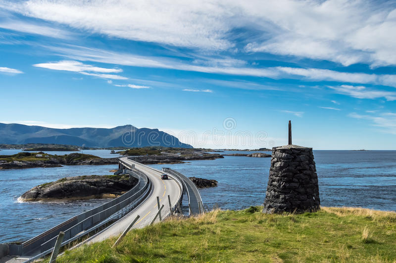 Part of the Atlantic Ocean Road in Norway. The Atlantic Ocean Road or the Atlantic Road is the part of Norwegian national road 64 stock photography