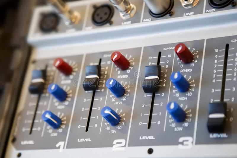 Part of an audio sound mixer console stock image