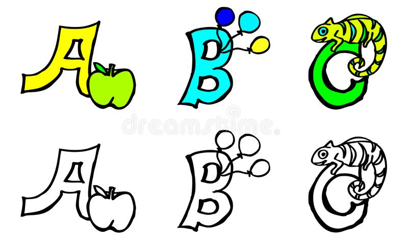 Part 1 a b c coloring book letters with pictures in german and english royalty free illustration