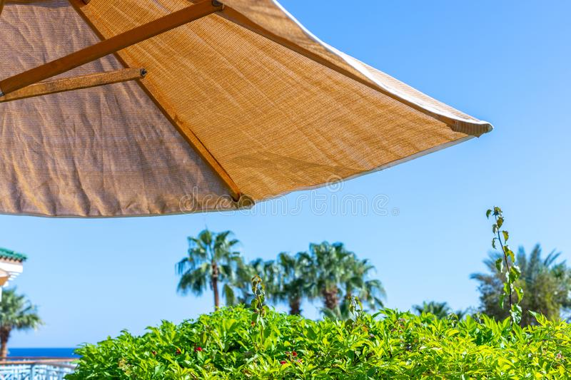 Part of a beach umbrella against a blue sky and greenery. Sun shade by the pool on a blurred background palm trees and sea horizon stock photo