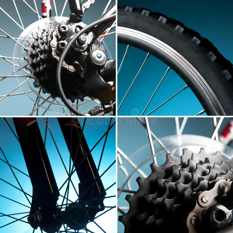 Part of the bike. wheel, tire, chain, sprocket stock image