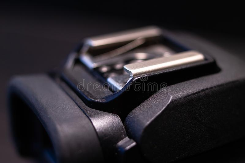 Part of black digital mirrorless camera royalty free stock photos