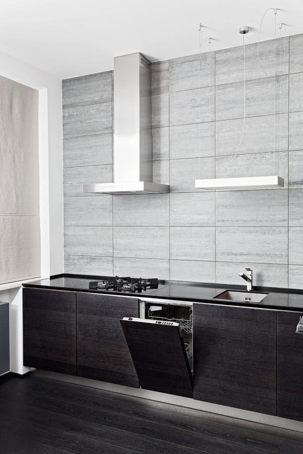 Part of black hardwood kitchen royalty free stock images