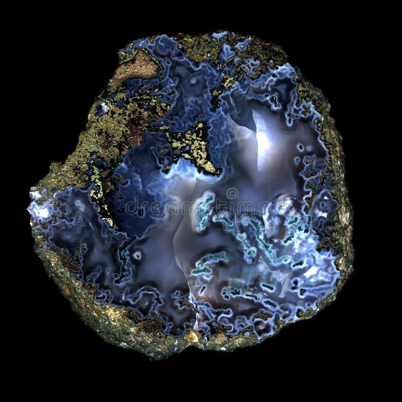 Part bleue d'agate d'isolement photos libres de droits