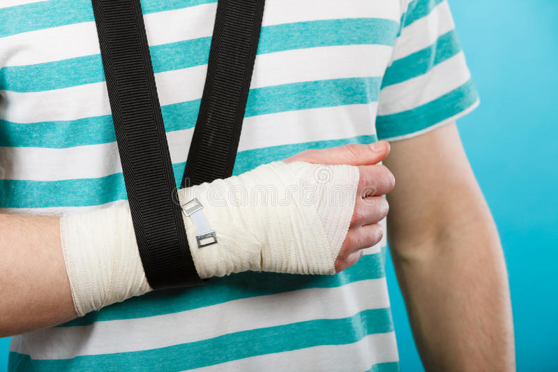 Part body man with bandaged hand. Fractures and dislocations concept. Part body male with hand in bandage. Helpful medication for painful palm arm of young man royalty free stock photos