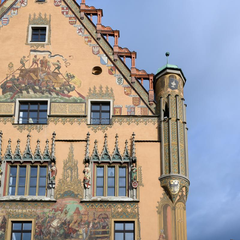 Part with bowfront of historic Town Hall with beautiful paintings, Ulm, on Romantic Road in South Germany stock photos