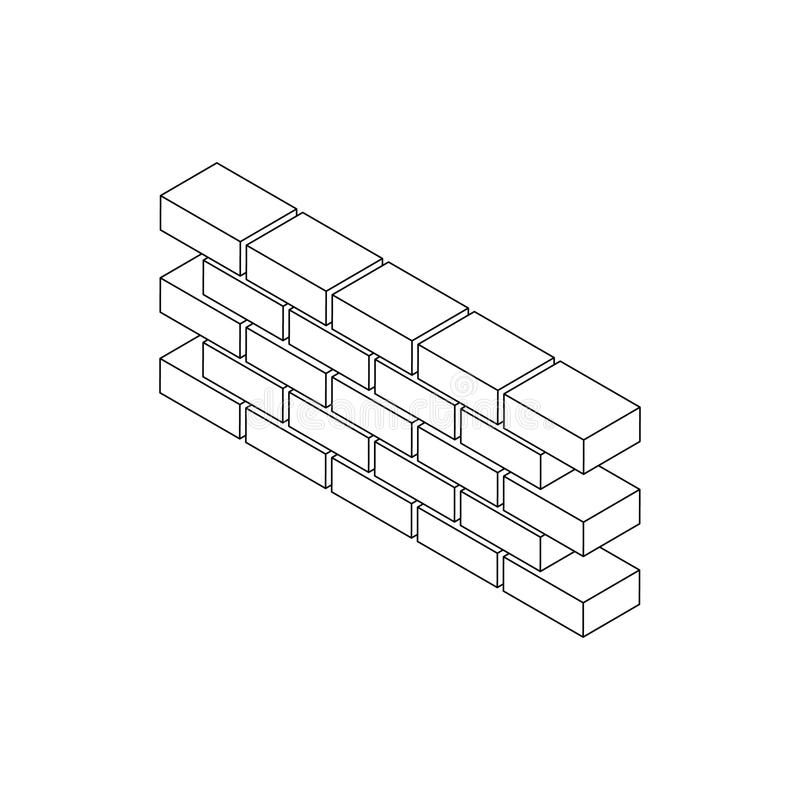Part of brick wall icon, isometric 3d style stock illustration