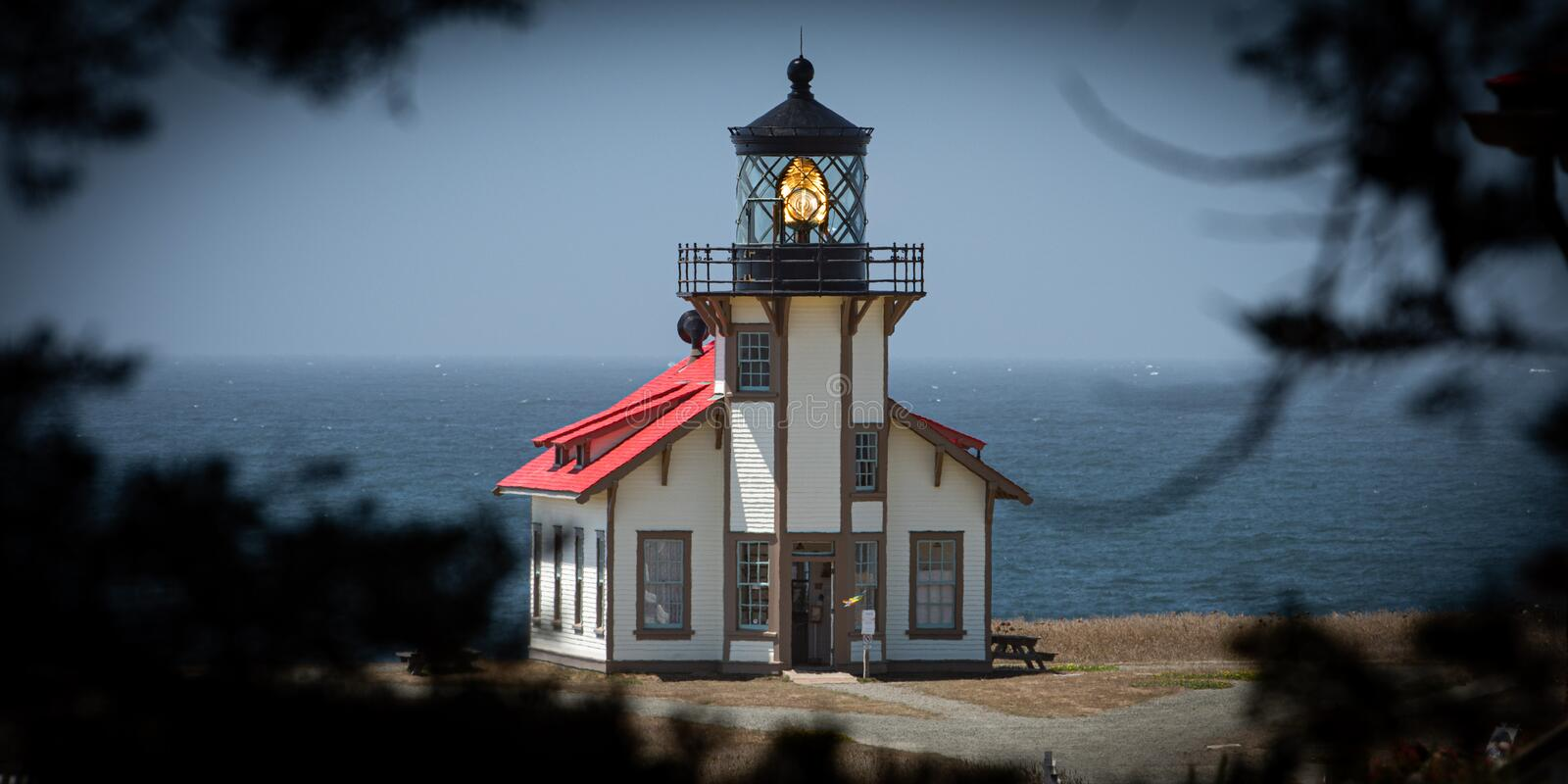 Cabrillo Light. Part of California`s state park system, the Point Cabrillo Light Station was commissioned in 1909. The building, along with out buildings and a royalty free stock images