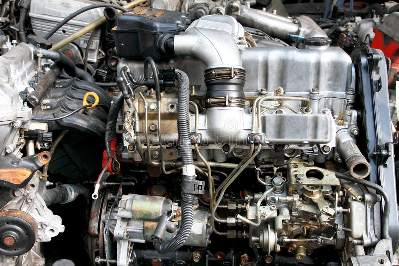 Part of car engine. In the second hand market royalty free stock images