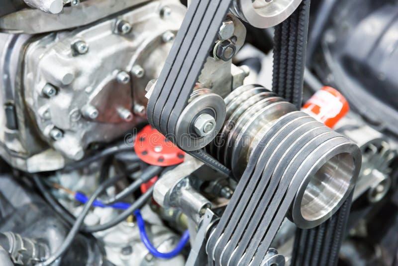 Part of car engine. Closeup of a powerful car engine stock photos
