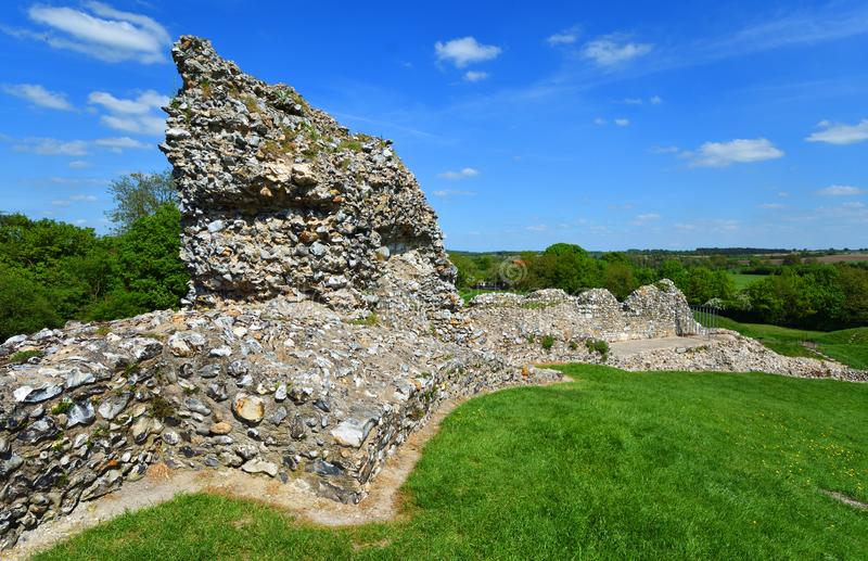 Part of the castle wall Castle Acre Norfolk. stock photography