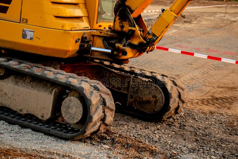 Part of catarpillar, bulldozer at road works stock photo
