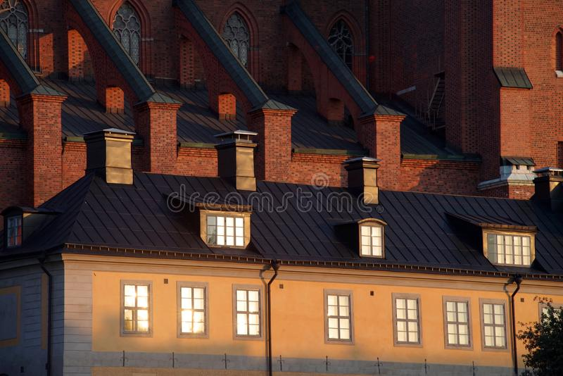 A part of the Cathedral in Uppsala, Sweden. View from the Sankt Eriks torg stock photo