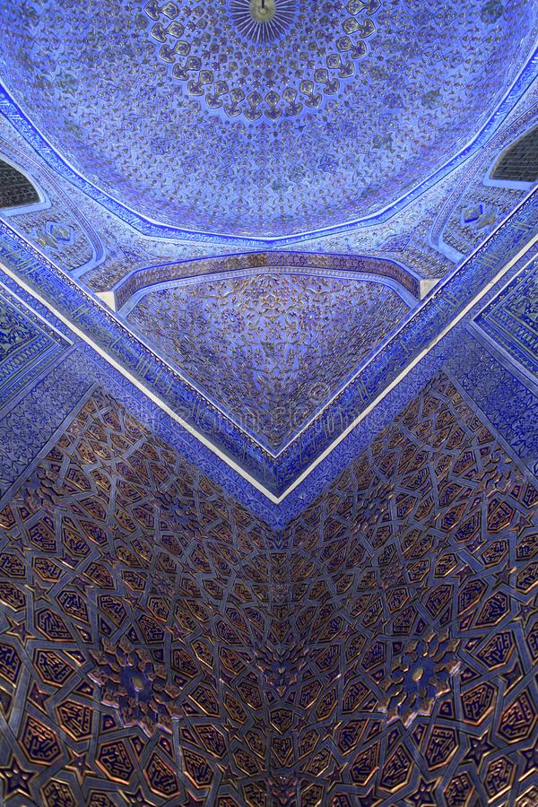 Part of ceiling in Guri Amir mausoleum stock photography