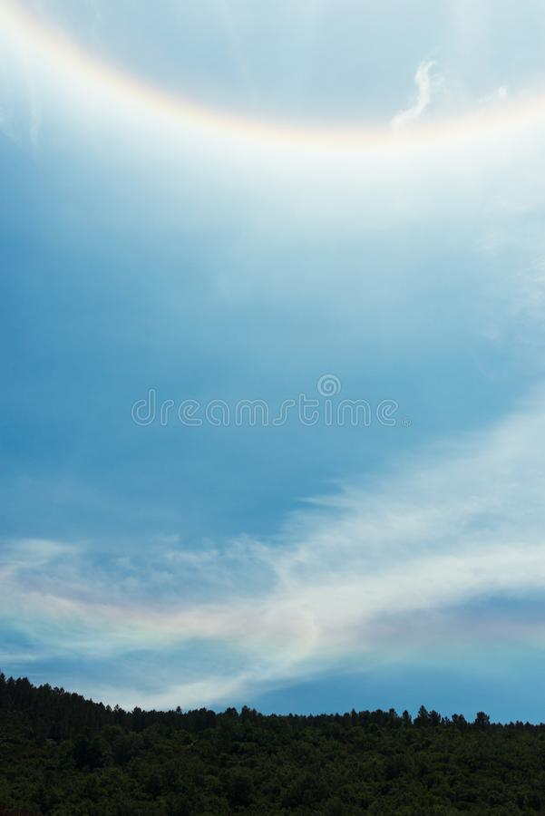 Part of Halo optical phenomenon, rainbow. Part of Circular 22° halo optical phenomenon stock photography