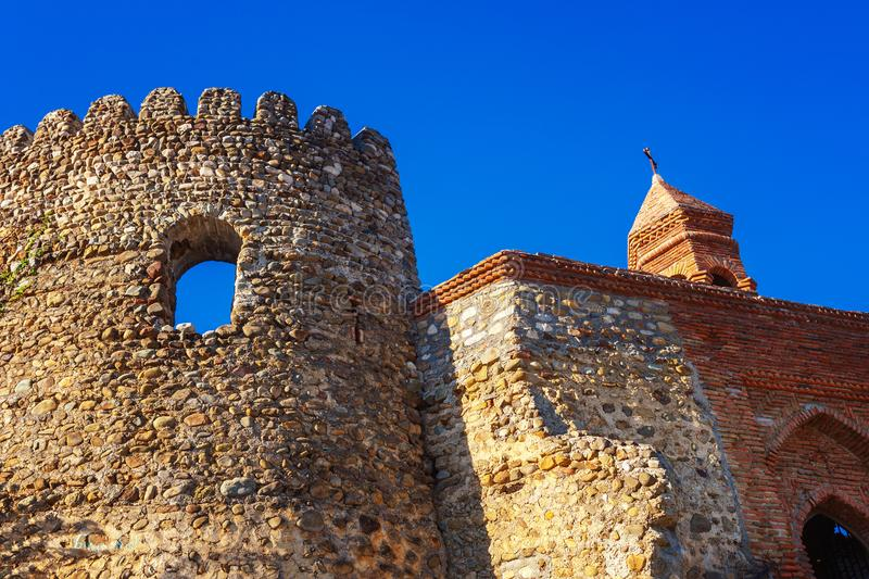 part of the city wall with fortified tower in historical town Signagi, Kakheti region, Georgia stock image