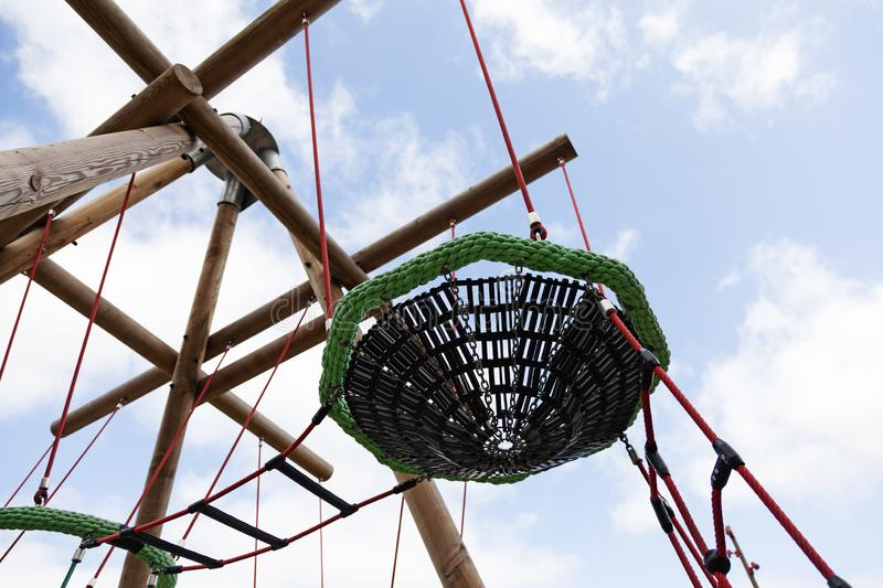 Part of climbing stand at the new play park at Umedalen stock photos