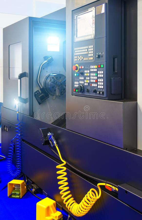Part of cnc milling machine with control panel royalty free stock images