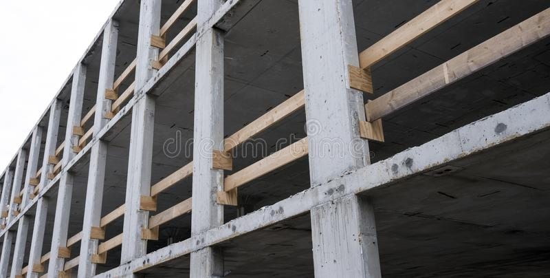 Part of concrete construction building site. With safety barrier royalty free stock photography