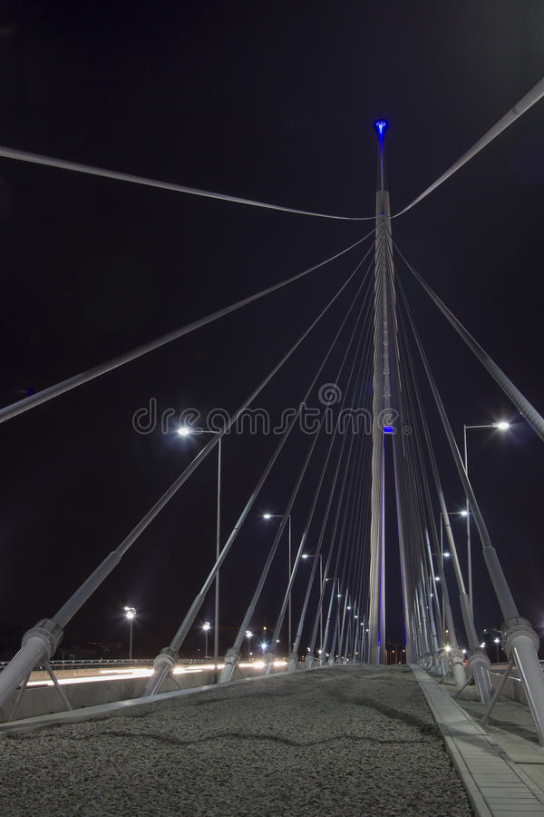 Part of construction of Ada bridge at Night. On Sava River, in Belgrade, Serbia royalty free stock photography