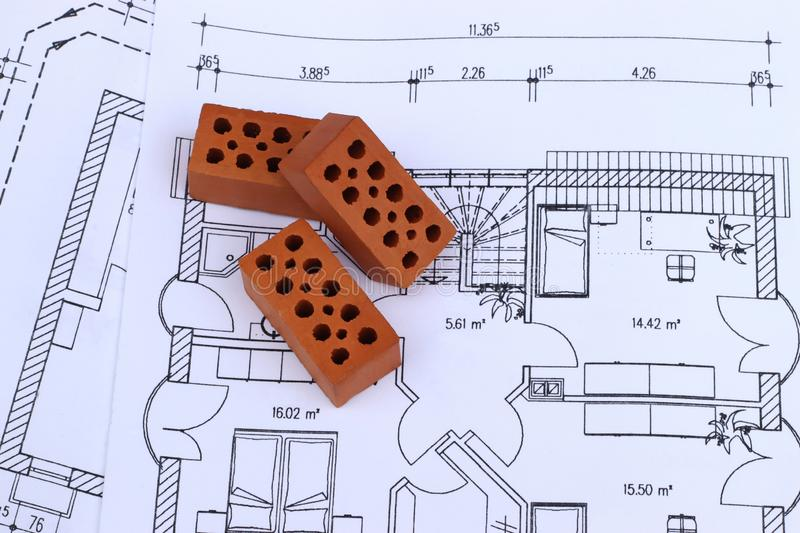 Part of a construction plan for a residential building royalty free stock images