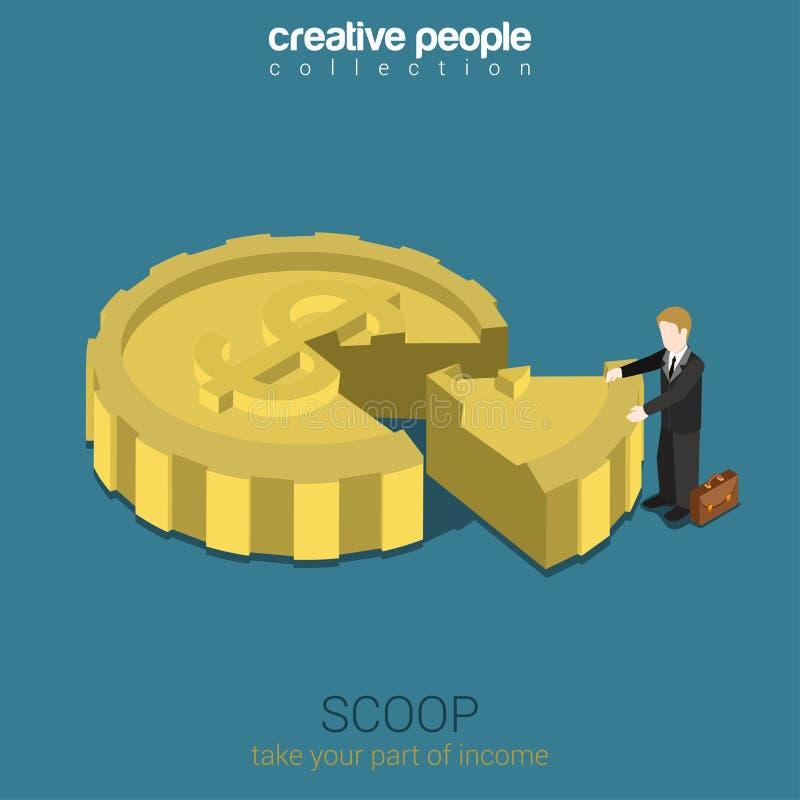 Part de cage d'actionnaire en Web 3d plat de concept de société isométrique illustration de vecteur