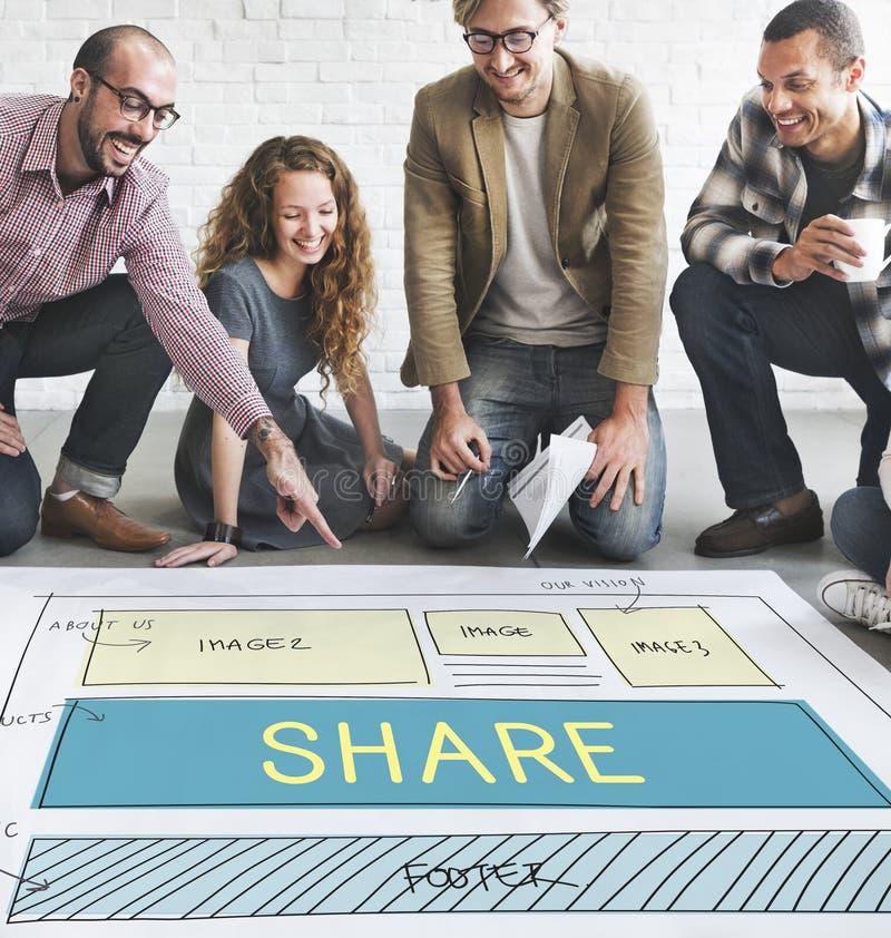 Part de disposition de web design partageant le concept image libre de droits