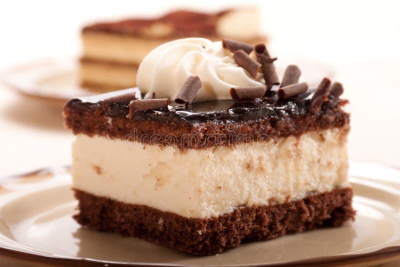 Part de gâteau de crème de chocolat image libre de droits