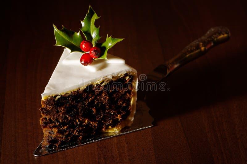 Part de gâteau de Noël image libre de droits