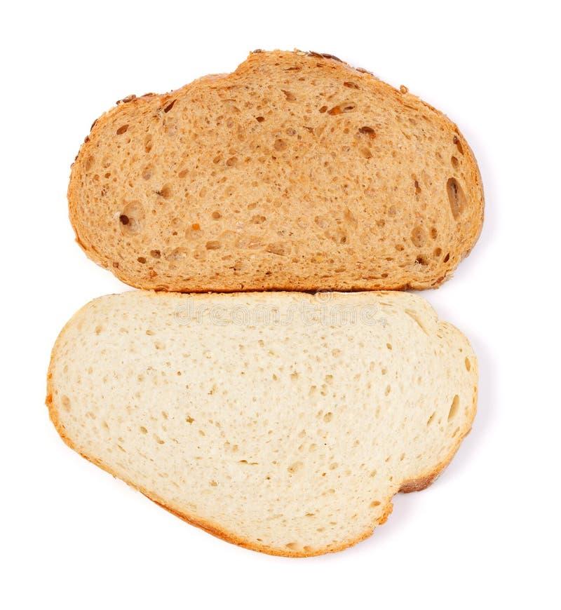 Part de pain blanc et brun photographie stock