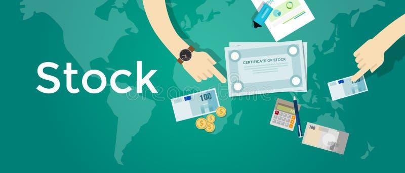 Part de papier de certificat d'actions des biens intermédiaires de finances d'investissement d'argent d'affaires de société illustration libre de droits