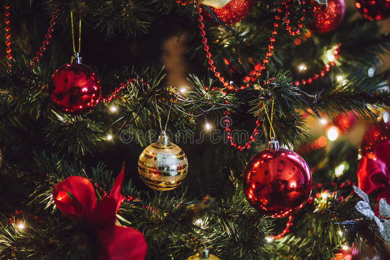 Part of the decorated christmas tree. royalty free stock photos