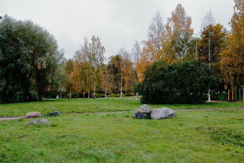 Part des arbres dans des couleurs lumineuses d'automne, ciel lourd d'automne avec des nuages de pluie, mais il y a une herbe touj photos libres de droits